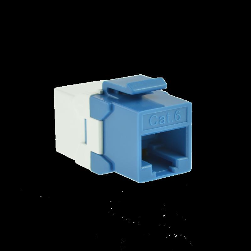 Cat6 Keystone Jack Coupler (Blue) - RJ45 In-Line Insert for Keystone Wall Plate - 10 Pack (Part# 51J-C6C-BLU-10P ) 10 Pack