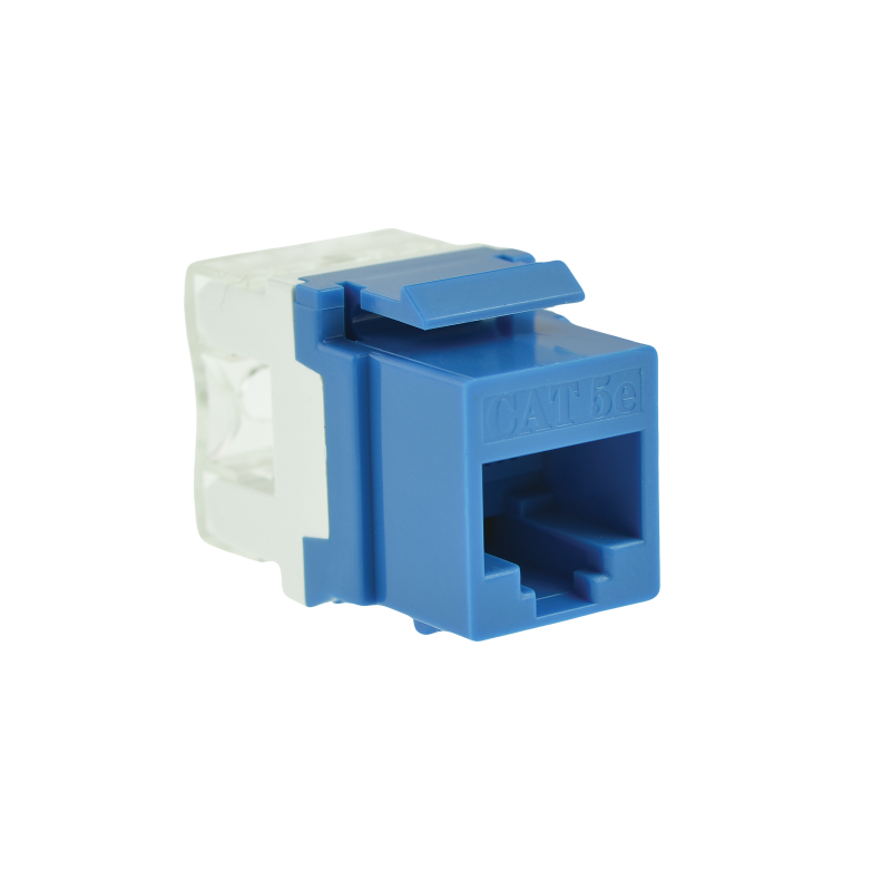 Cat5e Keystone Jack (Blue) - Punch-Down RJ45 Insert for Keystone Wall Plate - 10 Pack (Part# 51J-C5-BLU-10PK ) 10 Pack