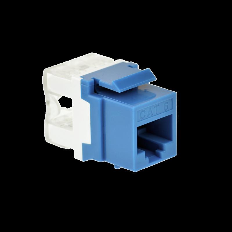 Cat6 Keystone Jack (Blue) - Punch-Down RJ45 Insert for Keystone Wall Plate - 25 Pack (Part# 51J-C6-BLU-25PK ) 25 Pack