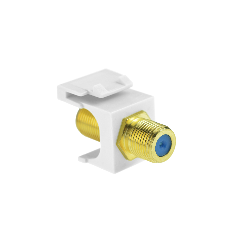 Coaxial Keystone Jack (White) - Gold-Plated RG6 Insert for Keystone Wall Plate - 5 Pack (Part# 51J-F81-WH-5PK ) 5 Pack