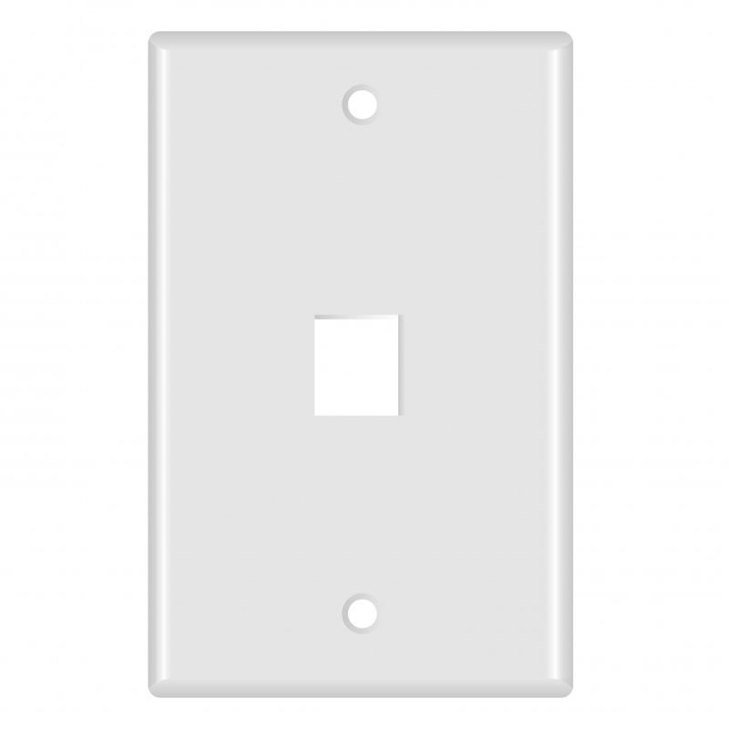 Keystone Wall Plate (1-Port, White) - 5 Pack (Part# 51W-101-5PK ) (1-Port) 5 Pack