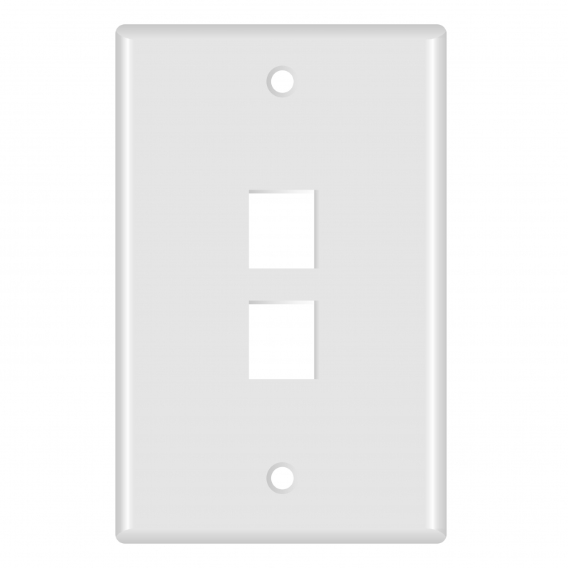 Keystone Wall Plate (2-Port, White) - 5 Pack (Part# 51W-102-5PK ) (2-Port) 5 Pack