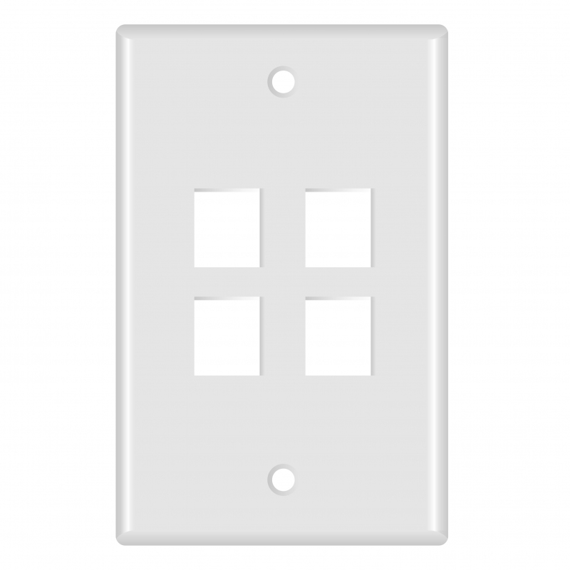 Keystone Wall Plate (4-Port, White) - 5 Pack (Part# 51W-104-5PK ) (4-Port) 5 Pack