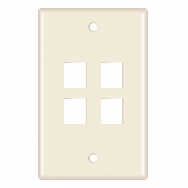 Keystone Wall Plate (4-Port, Almond) - 5 Pack (Part# 51W-204-5PK ) (4-Port) 5 Pack