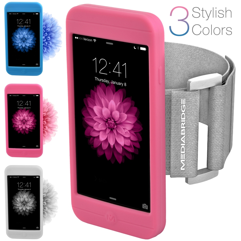 Sport Armband for iPhone 6S / 6 - Includes 3 Silicone Case Colors (Pink, Clear & Blue)