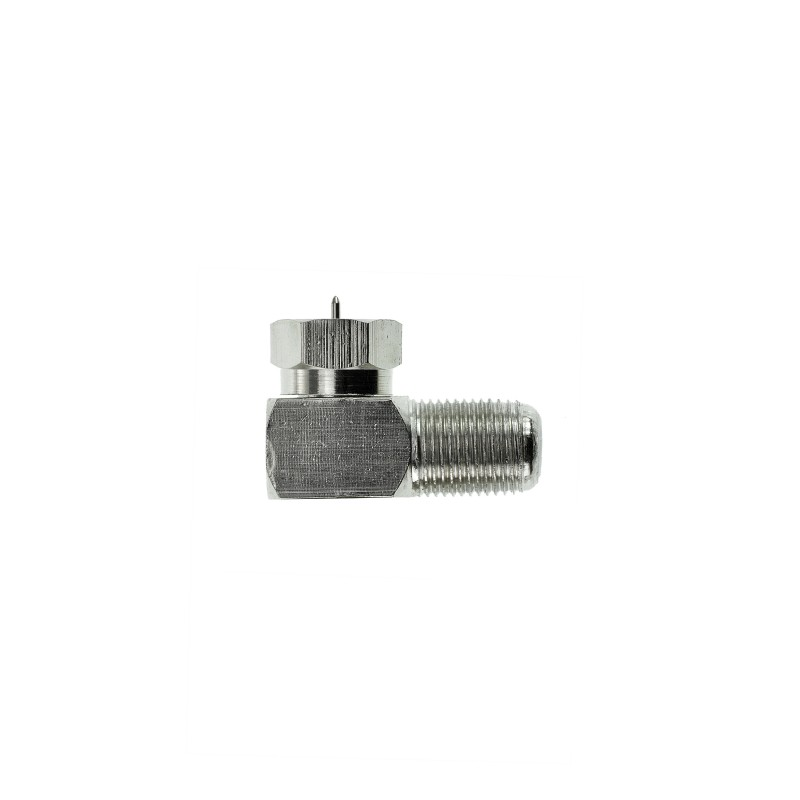 F-Type Right Angle Adapter - 90° Female to Male Connector (Nickel-Plated) 5 Pack