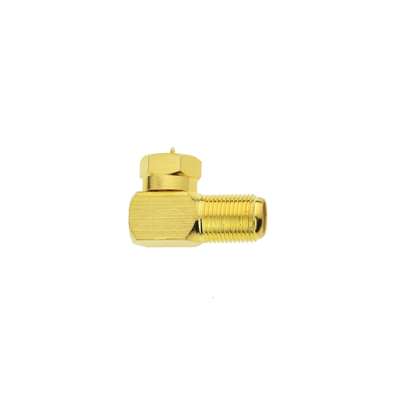 F-Type Right Angle Adapter - Gold-Plated - 90° Female to Male Connector (Gold-Plated) 10 Pack