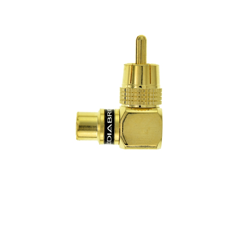 RCA Right Angle Adapter - Female to Male Gold-Plated Connector (2 Pack) 2 Pack