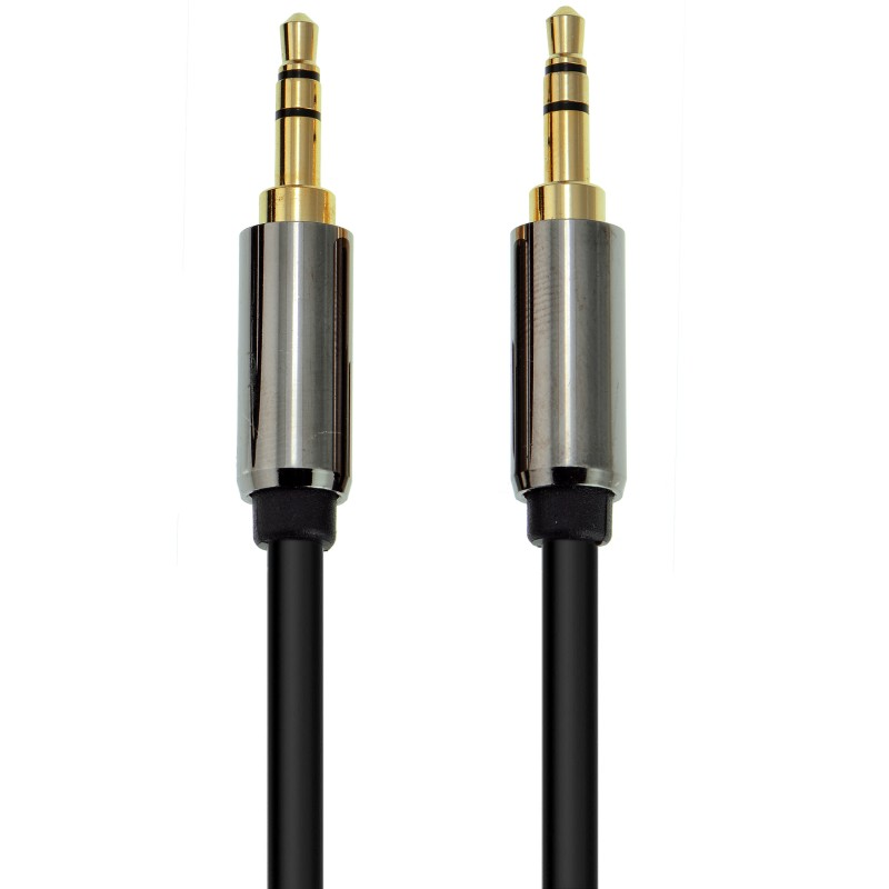 3.5mm Male To Male Stereo Audio Cable - Tangle-Resistant (Black - 2 Feet)