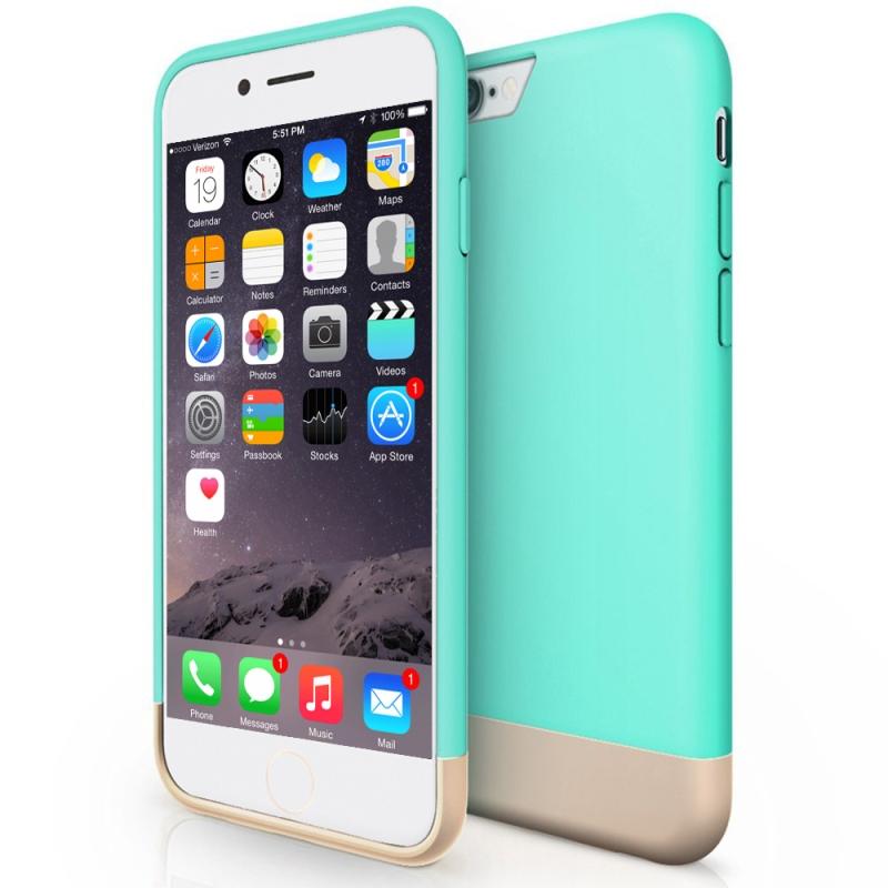 Safe Slider Case For iPhone 6 (Aqua/Gold)