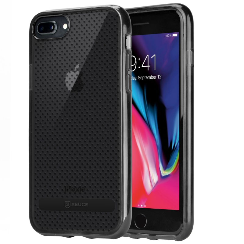 XEUCE iPhone 7 Plus / iPhone 8 Plus Slim Fit Case (Smoky Black) Scratch-Resistant Protective Case (Part# PC13-I8+-BLA )