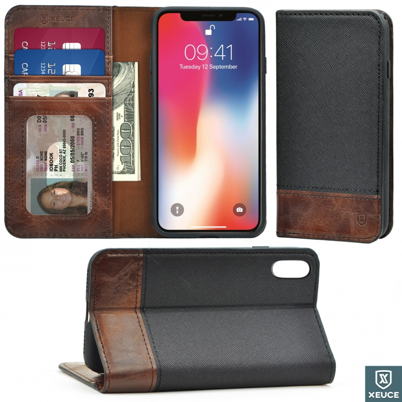 XEUCE iPhone X / iPhone Xs Folio Wallet Case (Black/Brown) Magnetic Flip Case w/ Horizontal Kick-Stand Design (Part# PC15-IX-B1 )