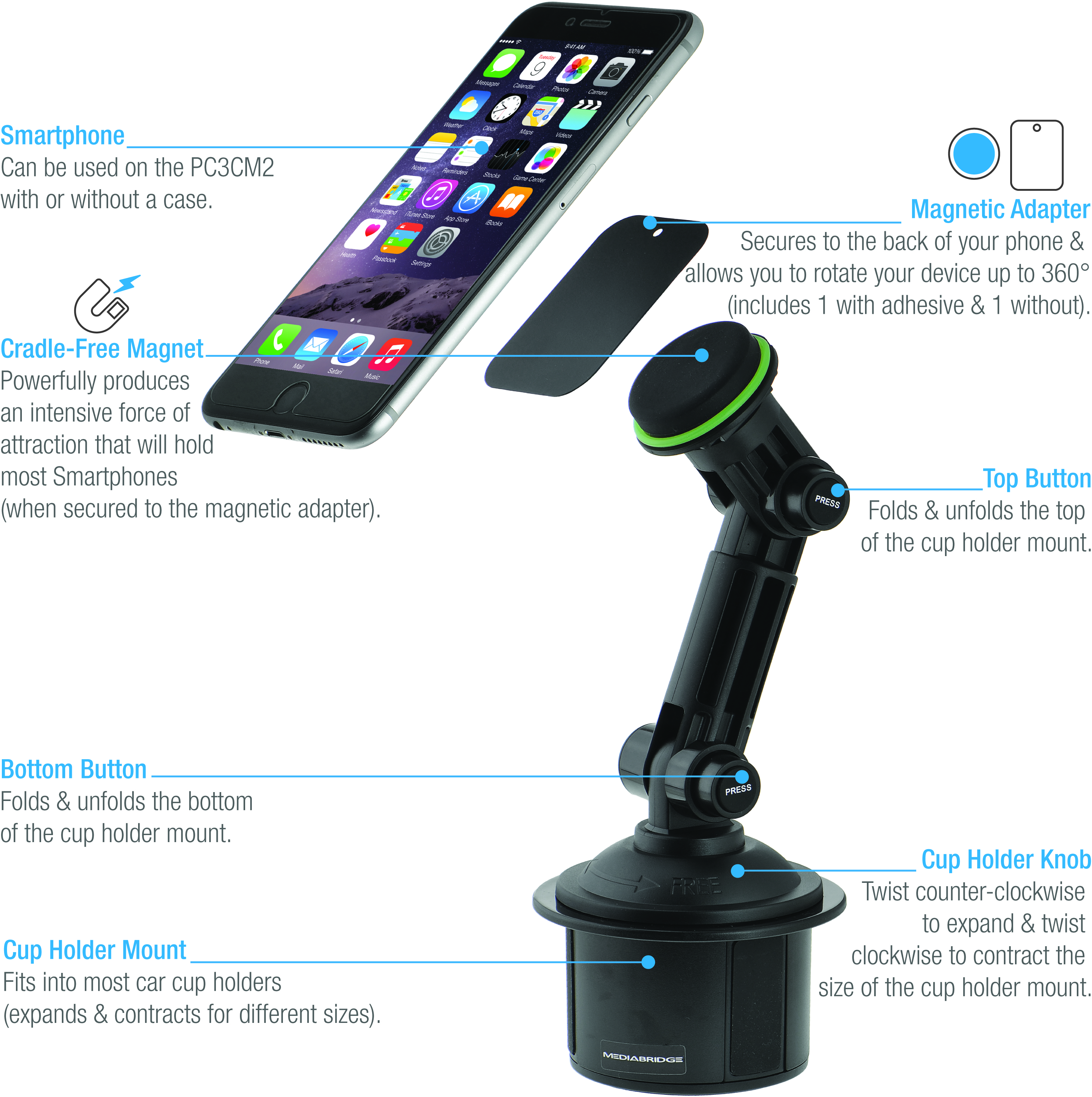 Shop New Magnetic Phone Holder With Extended Cup Mount Part Car Magnet Ac Pc3mc2 Mediabridge Products