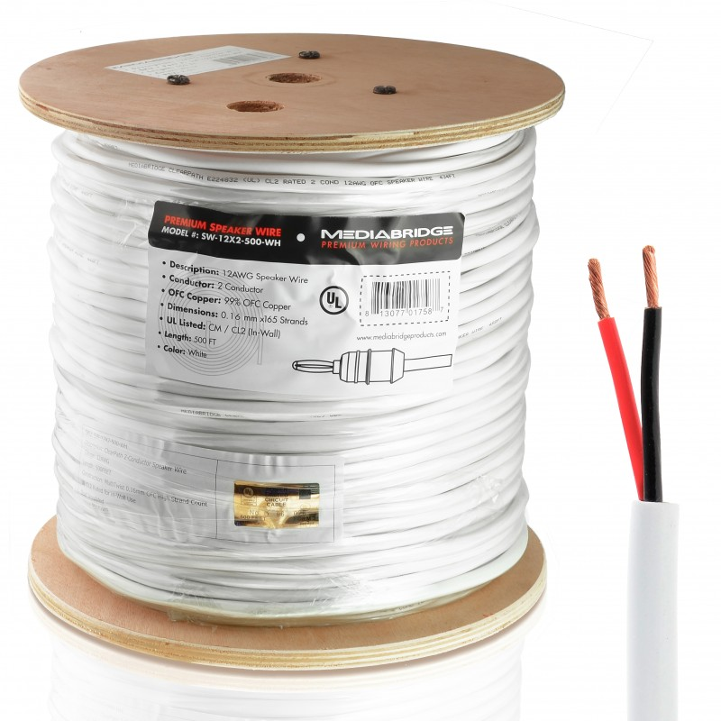 12AWG 2-Conductor Speaker Wire (500 Feet) – 99.9% Oxygen Free Copper (12 Gauge - 500 Feet)