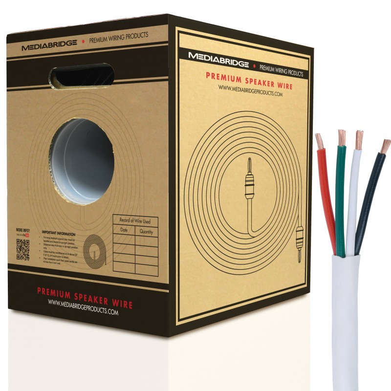 4-Conductor Speaker Wire - 99% Oxygen Free Copper - ETL Listed & CL2 Rated for In-Wall Use (12 Gauge - 200 Feet)
