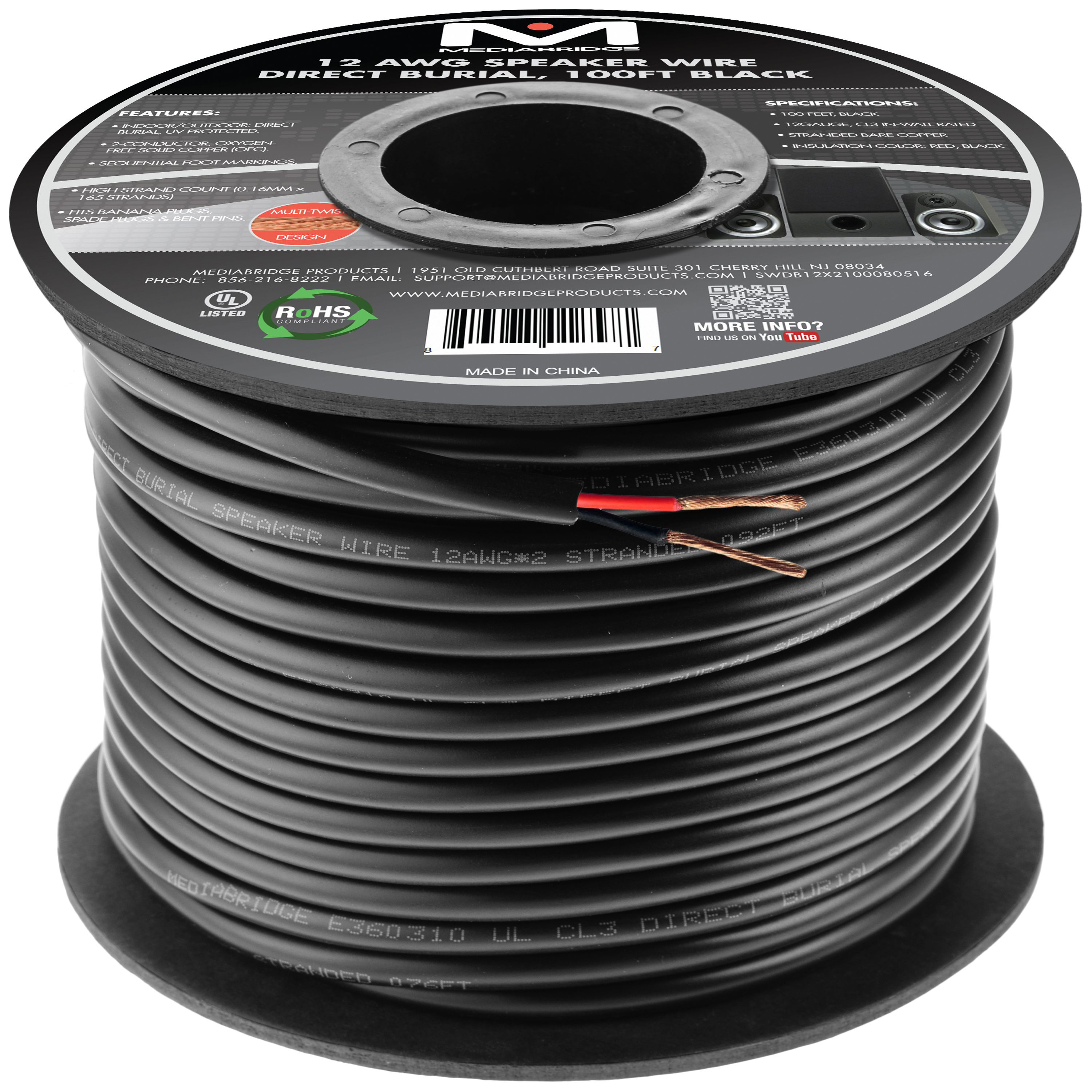 Shop New Speaker Wire Mediabridge Products Audio Wiring Accessories 12awg 2 Conductor Direct Burial 999 Oxygen Free Copper Ul Listed Rated For Use 100 Feet